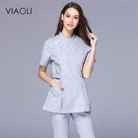 Viaoli 2017 Doctor nurse spring and summer short sleeved collar collar waist dress nurse dressscrub set uniform
