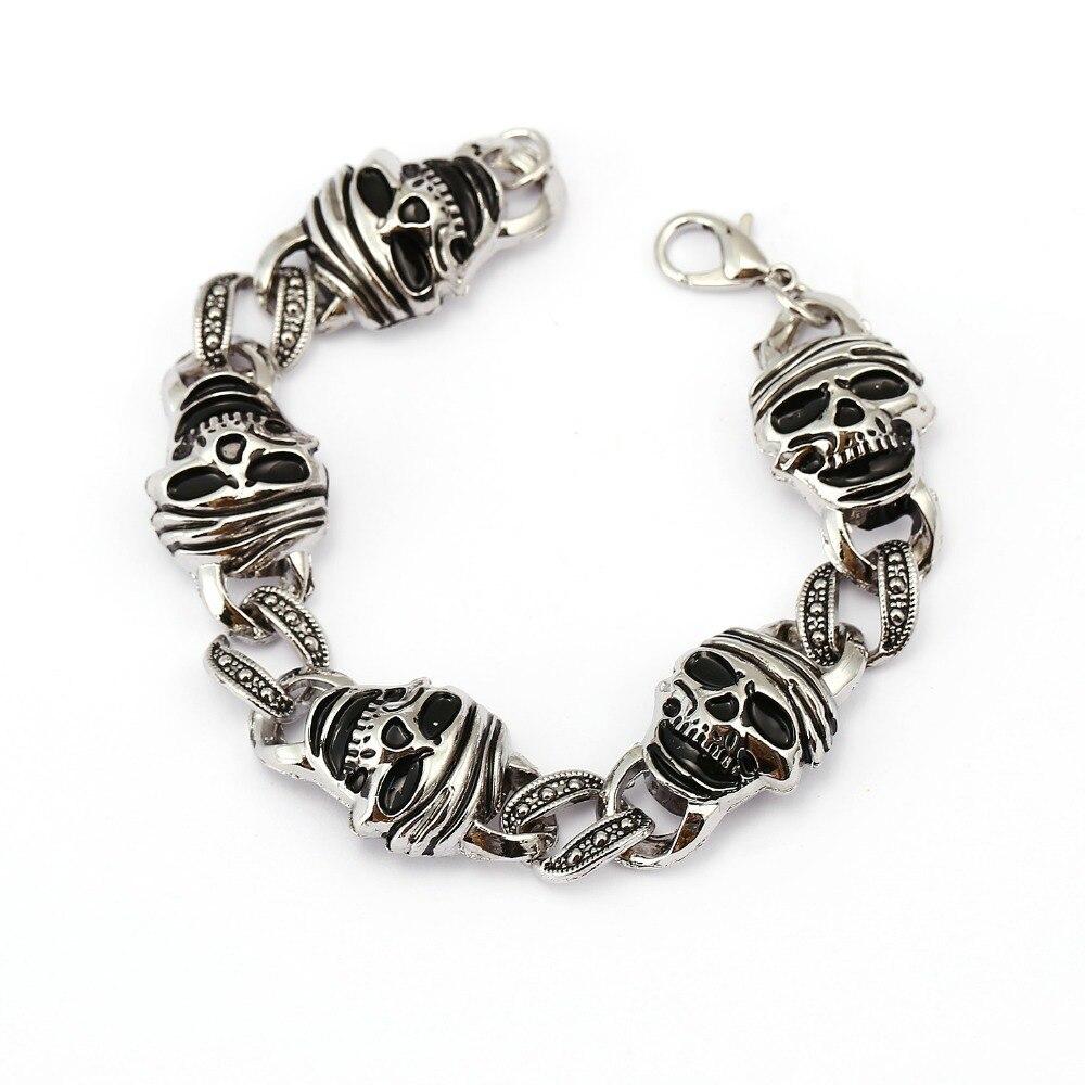 2016 New Fashion Punk Skull Charm Bracelet for Men Stainless Steel Cool DIY Bracelets & Bangles Male Pulseira Jewelry