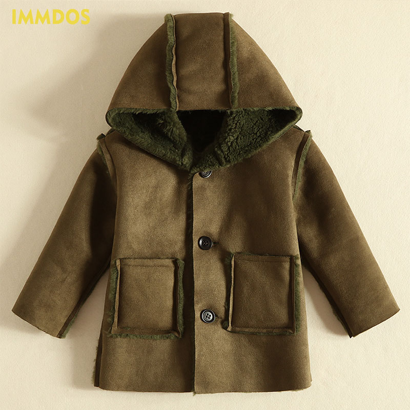 IMMDOS Winter Hooded Thicken Wool Coat For Boys Children Long Sleeve Packet Warm Clothes Kids Solid Fashion New Year Clothing недорго, оригинальная цена