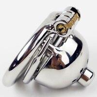 Versetzt ring aus Kurzen Keuschheitskäfig mit Neue Schloss und abnehmbare Harnröhren Sound Stahl Locking Keuschheits für Männer