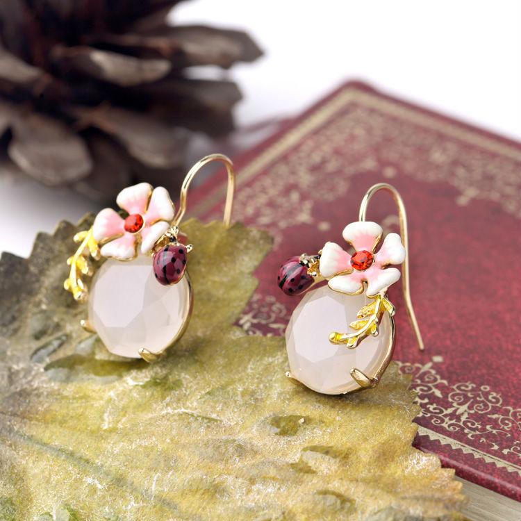 2015 Ljeto Novi dizajn Slatki naušnica cvijet emajl Ladybug Okrugli - Modni nakit - Foto 5