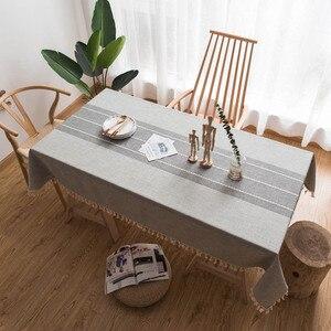 Льняная прямоугольная скатерть большого размера, серая/кофейная/синяя/зеленая клетчатая прямоугольная домашняя скатерть, декор для столов...