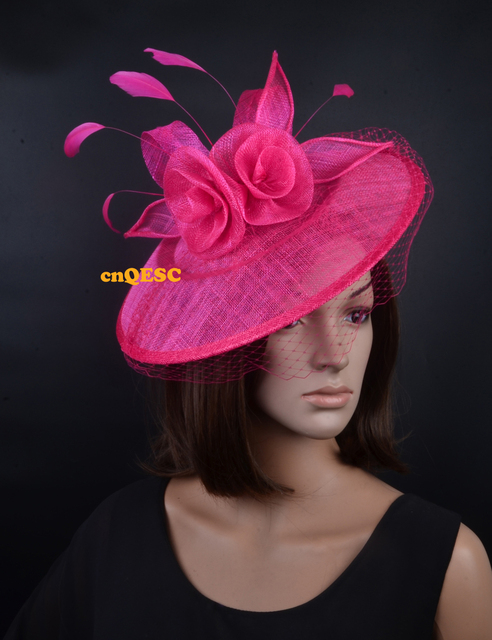 5540ac2a235da Hot pink fuchsia Large saucer base fascinator for wedding party races  kentucky derby ascot races church.