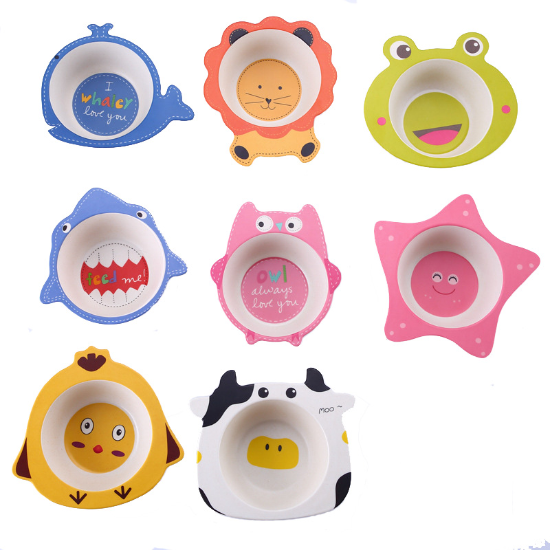 Cartoon <font><b>Bamboo</b></font> fiber baby feeding bowl <font><b>kids</b></font> baby food dishes 8 styles image
