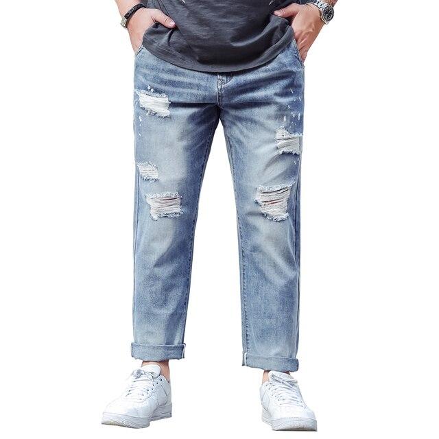 830d6a2ea9 Mens Plus Size 44 Ripped Baggy Jeans pants Distressed retro vintage  Streetwear Denim Pants Men s Loose Jeans big size