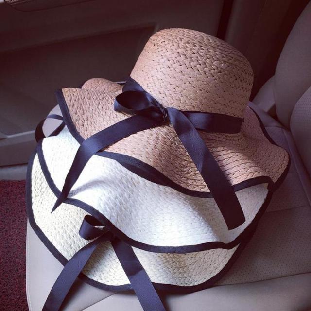 Лето Сладкий Черный Лук Женщины Соломенной Шляпе Большой Наполнянный До Краев Шляпы Для Женщин Пляж Hat Chapeu Feminino Mujer Сомбреро Шляпа-Панама