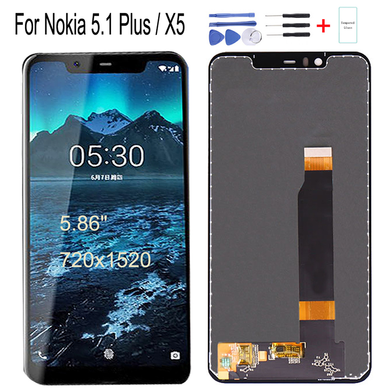 Original 5.86 inch For Nokia 5.1 Plus X5 LCD Display Touch Screen Digitizer Assembly For Nokia X5 TA-1120 TA-1105 1102