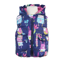 Autumn Baby Girl Clothes Hooded Warm Vest Girls Bodywarmer Hand Painting Printing Hooded Winter Coat Kids Girls Vest Jacket