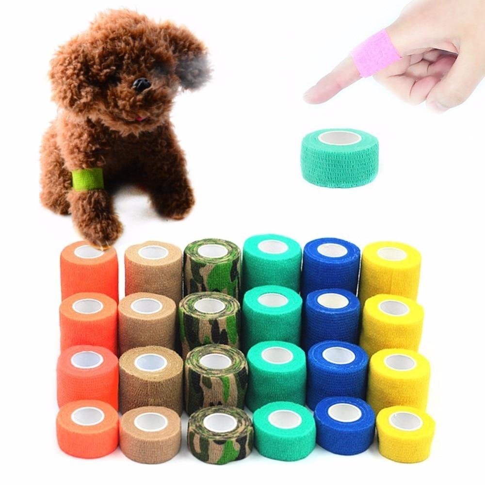 4 Sizes font b Pet b font Multi functional Solid Self adhesive Elastic Bandage Breathable Tearing
