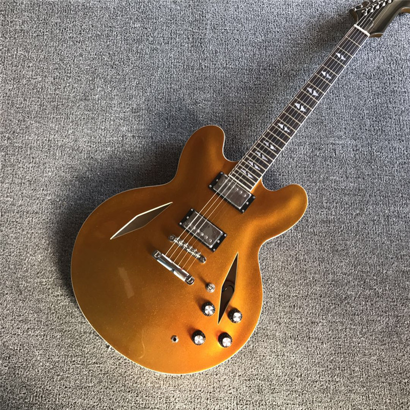 hot sales gold color electric guitar with 6 strings and hollow body for performance in electric. Black Bedroom Furniture Sets. Home Design Ideas