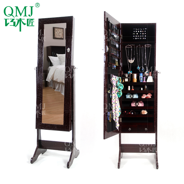 NEW Luxury Large Wooden Standing Jewelry Armoire Mirrored Bedroom Vanity  Furniture Storage For Makeup Organizer Makeup Cabinet In Living Room  Cabinets From ...