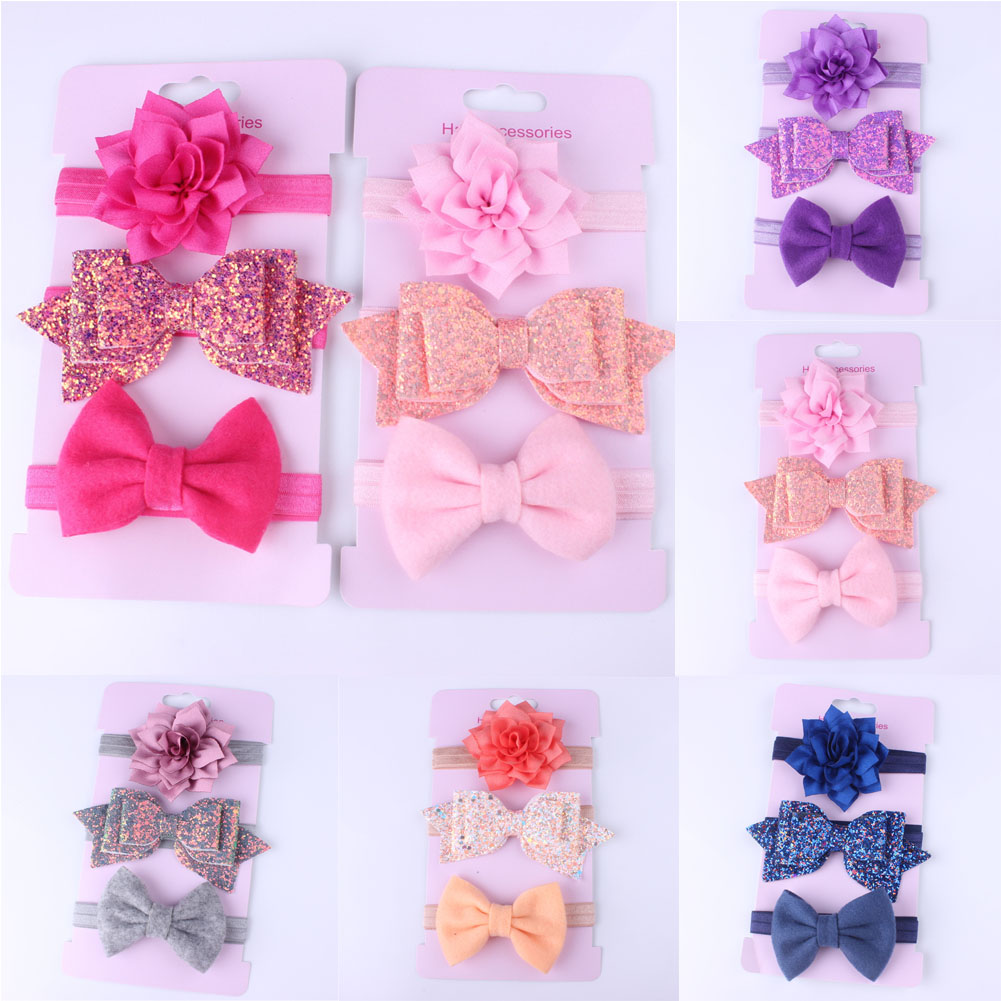 New AccessoriesHeadwear 3Pcs/Set Cute Infant Baby Girls Bow Headband Newborn Elastic Hairband Hair Photo Props Wholesale Gift