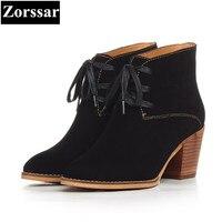 {Zorssar} 2017 nuevos zapatos femeninos moda vintage talón grueso botines con cordones vaca Suede tacones altos mujeres botas de caballero