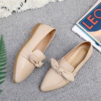 Genuine cow leather brogue casual designer vintage lady flats shoes handmade oxford shoes for women nude black 2019 spring
