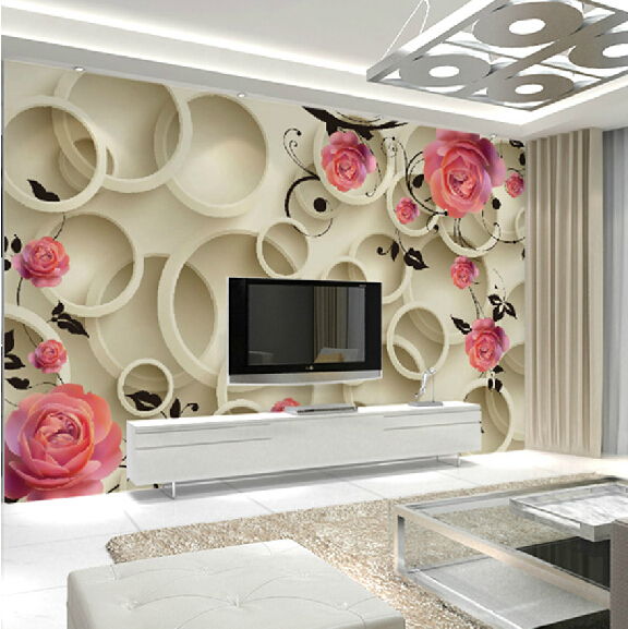 Wholesale Pink Rose Flower Circle 3d Wall mural Wallpaper for Bedding Room TV Background 3d Wall Photo Mural 3d Murals Fresco vander 8pcs professional rose pink