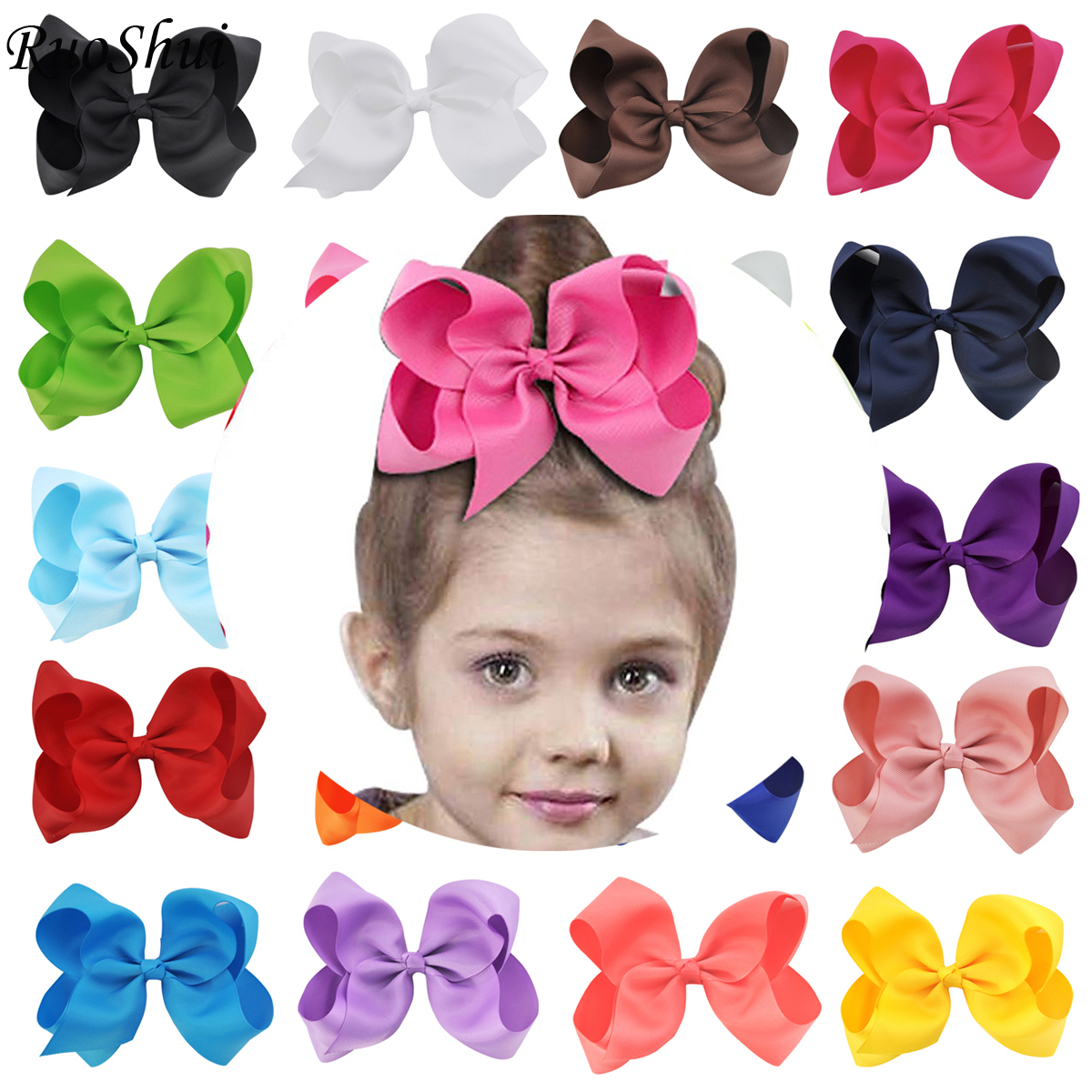 New 6 Inch Girls Hair Accessories Grosgrain Ribbon Cute Solid Hair Bows Children Princess Hairpins Kids Child Bowknot Hairclip