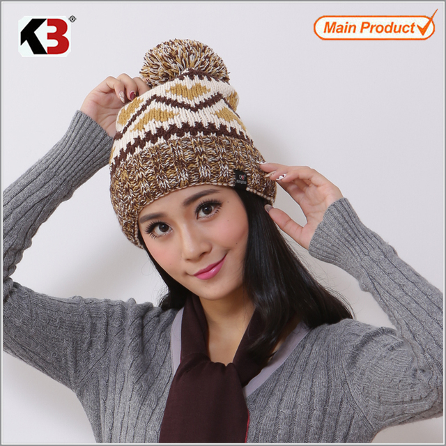 2016 Winter Autumn Acrylic Knitted Pattern Women Men Beanie Hat with Pom Pom Tap Ball Cap Brand New Thick Female Cap