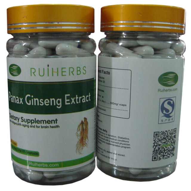 1Bottles Ginseng Extract 80% Ginsenosides 500mg x 90capsule improve energy& vitality free shipping