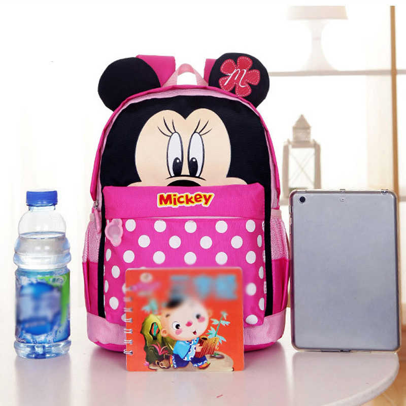 5441dc87fdf ... 2019 Disney Children Mickey Minnie Boys Girls School Bag Cute Kids  Backpacks Mouse Cartoon Bags Lovely ...