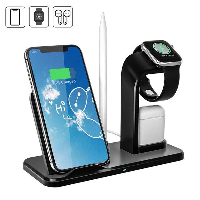 Bezprzewodowa ładowarka stojak na telefon do Apple Watch seria 4 3 2 IWatch Airpods Iphone 11 Pro Max XS MAX XR 8 Plus stacja dokująca