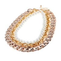 Multilayer Woman Necklace Collares Mujer Gold Chain Pearl Choker Necklace Collier Femme 2016 Women Jewelry Bijoux
