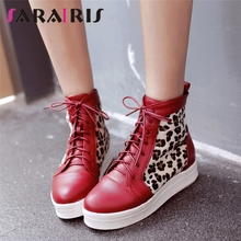 SARAIRIS Big Size 33-43 2019 Platform Lace Up Woman Shoes Casual Leopard Print Sneaker Footwear Black White Add Fur Ankle Boots