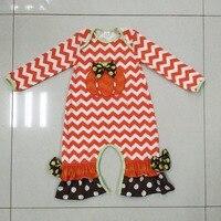 Dynia Halloween Niemowlę Romper Dziewczynka Remake Outfit Dla Dzieci Kombinezony Newborn Bawełna Chevron Ubrania R022