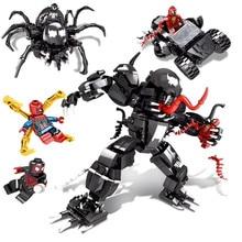 NEW Superheroes Avengers Set Spiderman Venom Mech Building Blocks 6917 Compatible Marvel Avengers Endgame Figures 76004 new superheroes avengers quinn cannonball attack set compatible marvel avengers endgame figures building blocks 70921
