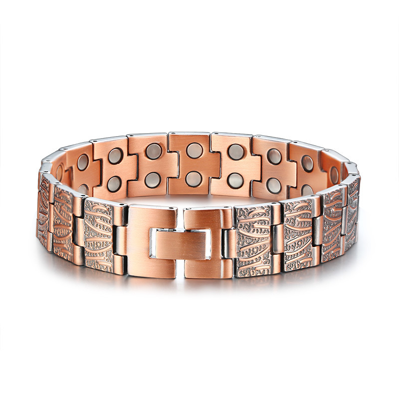 15mm Korea Copper Alloy Healthy Magnet Bracelets Men's Bio Energy Germanium Double Strength Therapy Bangle Male Pulseras Jewelry 2