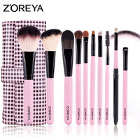 ZOREYA 10pcs Goat Hair High Quality Makeup Brush Sets Soft Bristles Cosmetic Kit Powder Lip Blending