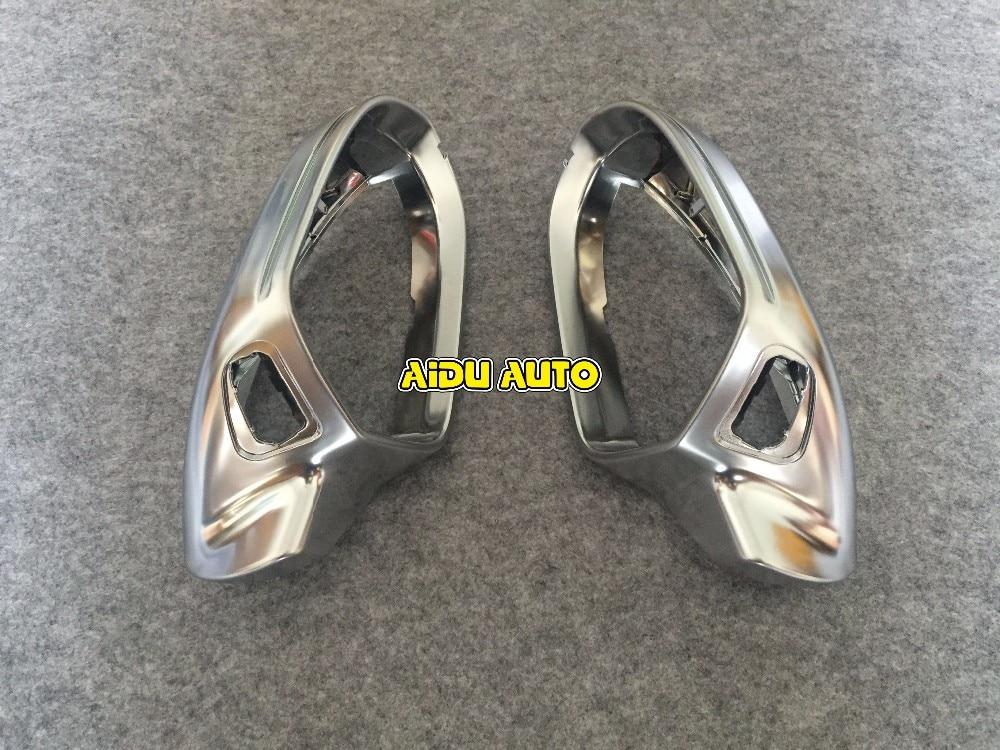 Alta calidad 1 par para Audi A6 C7 pa asistencia lateral soporte Plata Mate cromo espejo retrovisor shell