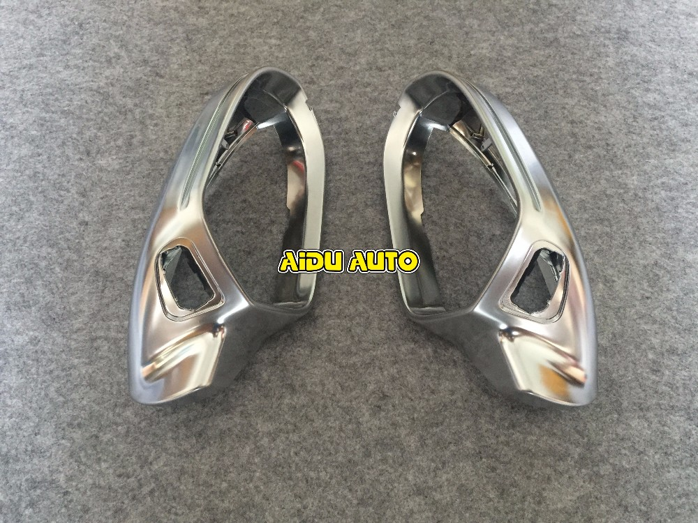 High quality 1 pair For Audi A6 C7 PA Side Assist Support matt Silver chrome mirror case rearview mirror cover shell