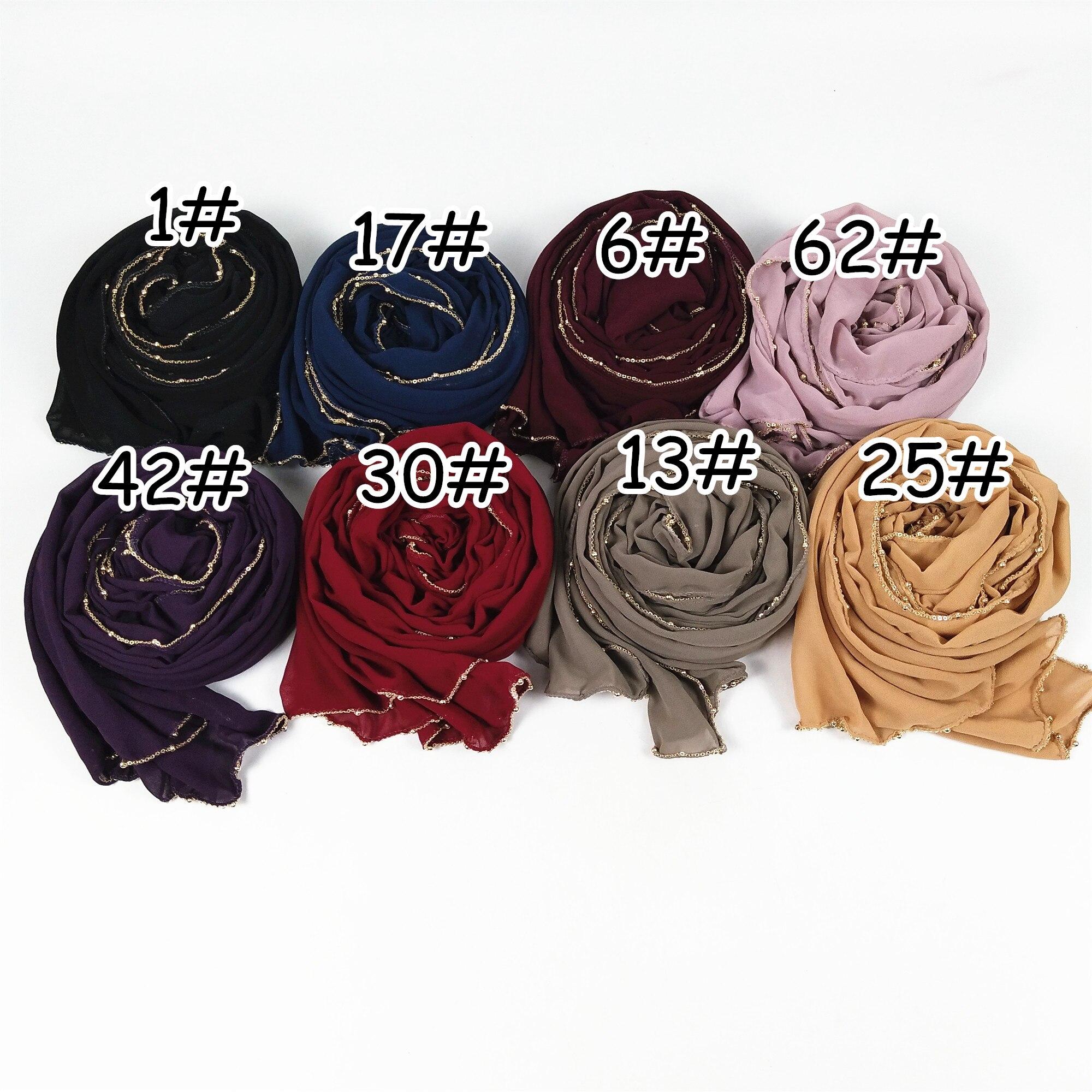 M24  High quality gold chain big size chiffon  hijab scarf women shawl lady wrap headband 180*75cm 10pcs/lot
