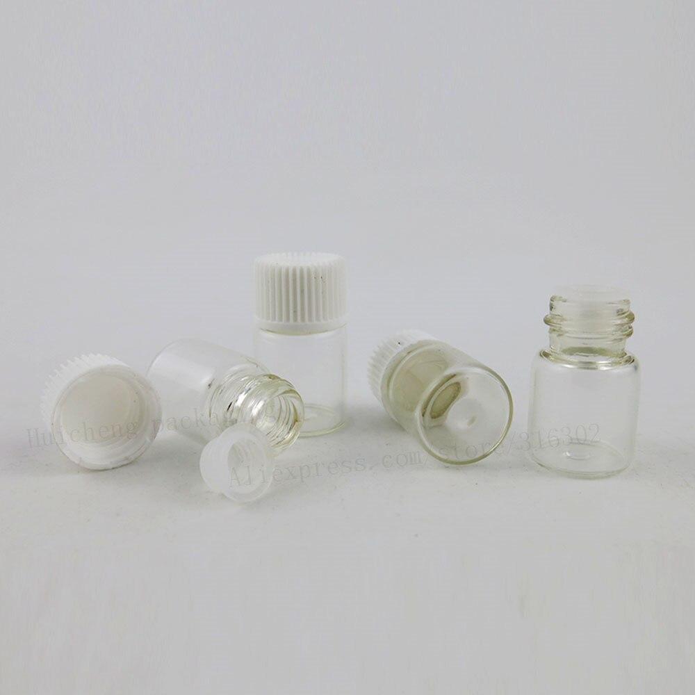 500x2 мл пустая прозрачная стеклянная с винтовым горлом бутылка с пластиковые крышки стеклянный пробный флакон маленький стеклянный эфирное масло флакон для духов