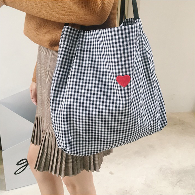 Canvas Black White Plaid Red Heart Deer Embroidery Ladies Shopping Bag Totes Cotton Cloth Beach Bags Luggage & Travel Bags Luggage & Bags