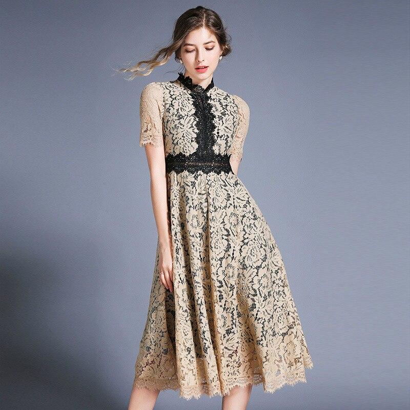 S-XXL grande taille évider bleu dentelle robe pour les femmes Patchwork grande balançoire lâche élégante robe femmes Floral d'été robe 2019 - 3