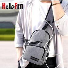 HeloFrn Multi Pocket Men Crossbody Bag For Teenager Sling Chest Bag Man USB Charging Cell Phone Pocket Summer