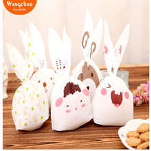 20pcs/lot Bunny Cookie Bag Wedding Favors Rabbit Ear Candy Plastic Kids Happy Birthday Party Decorations Baby Shower