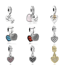NEW 925 Sterling Silver charm Pendant Heart Shaped Pearls Fit Original Bracelet DIY bracelet Jewelry Gift Factory wholesale
