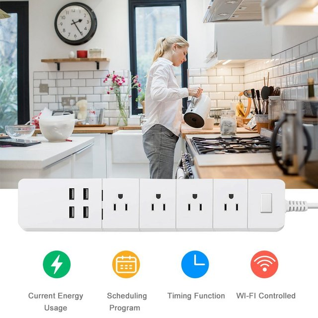 Power Strip Wifi Smart Outlets Surge Protector 4 US AC Plug Socket with USB Homekit 1.8m Extension Cord for Alexa Google Home