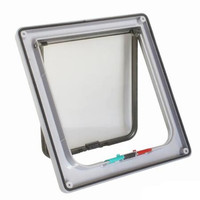 White-Dog Cat Flap Door with 4 Way Lock Security Flap Door For Cats Kitten ABS Plastic Small Dog