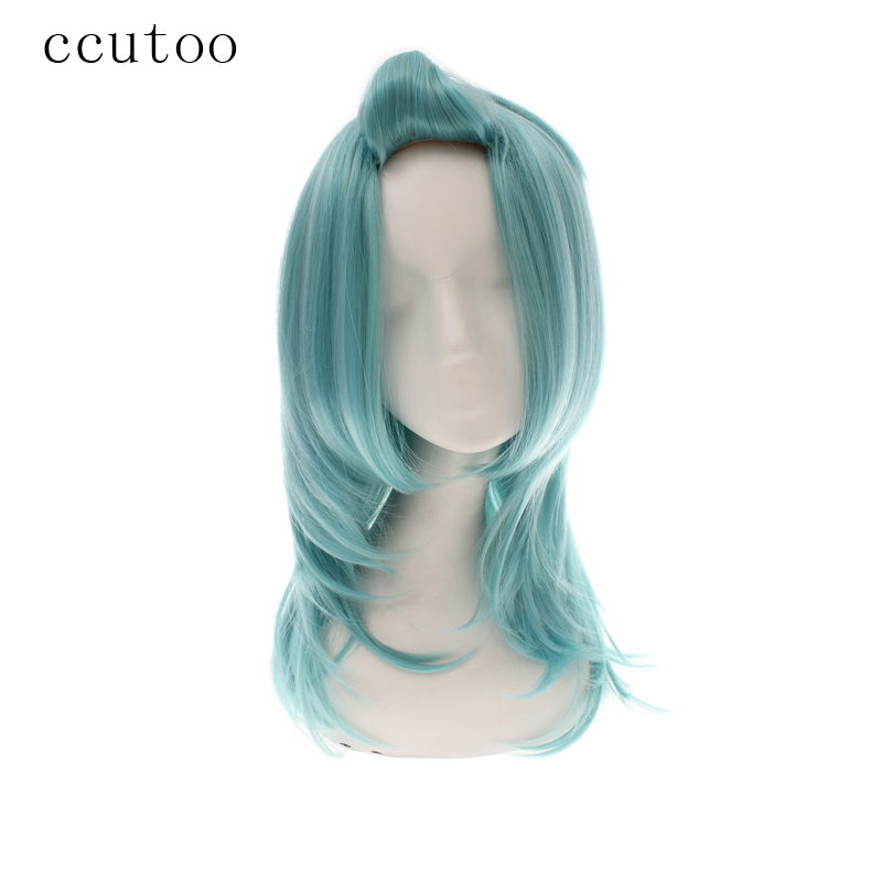 ccutoo 55cm Green Medium Curly Hair Styled Synthetic Wig For Female Halloween Party Cosplay Costume Wigs Heat Resistance Fiber