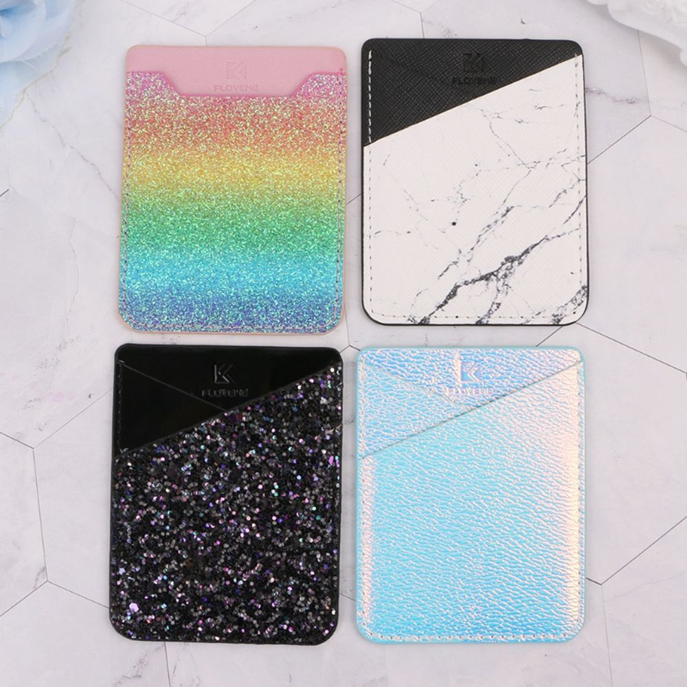 Fashion Shining Mobile Phone ID Credit Card Holder Wallet Credit Pocket Adhesive Back Sticker Pouch Phone Accessories