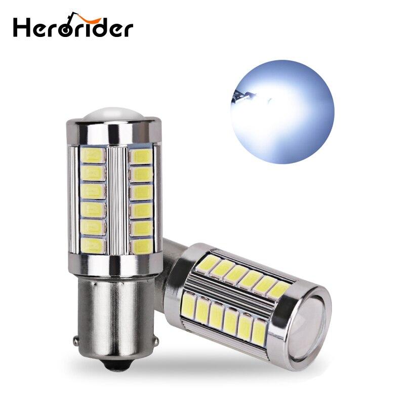 2x Amber Yellow P21W 1156 BA15S LED Bulb 5730 33SMD Car Turn Signal Light bulbs