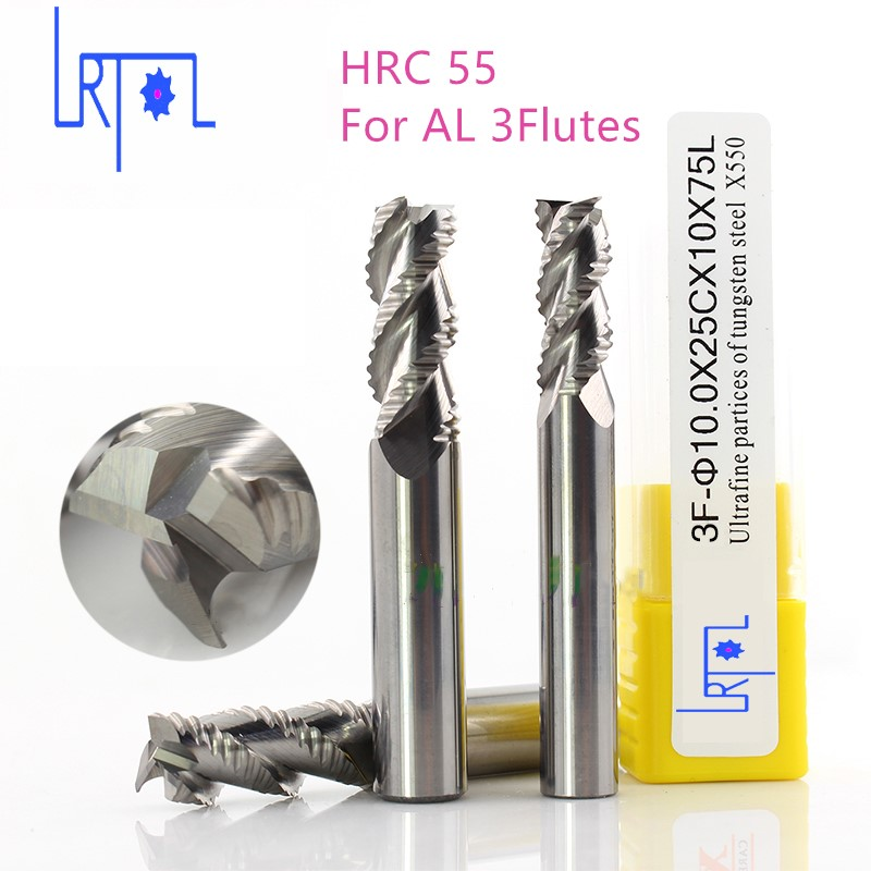 hrc55 3Flutes 4 6 8 10 12 16 20mm*50 75 100mm Roughing end mill for Aluminum Spiral Bit Milling Tools Carbide CNC End mill free shipping 1pcs 10mm hrc55 d10 25 d10 75 four flutes roughing end mill spiral bit milling tools cnc endmills router bits