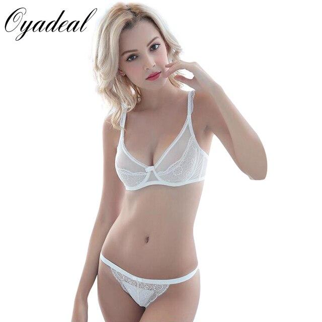 Oyadeal Women Underwear transparent Ultra-Thin Breathable Bra Sets Sexy Top Bras Lace Panties Briefs Lace Brassiere  Lingerie