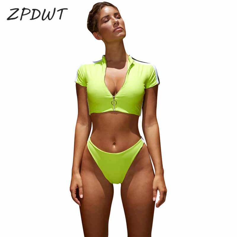6c41b82ee4315 ZPDWT Swimwear Neon Color Bikini Set Sports Suit Women Fluorescent Yellow  Two Piece Swimsuit tanga Bathing