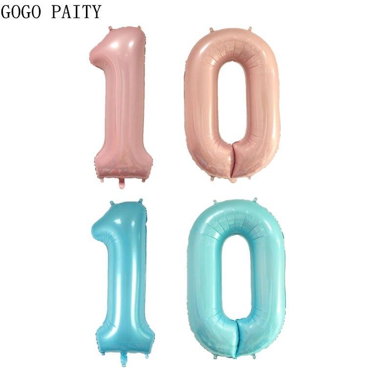 GOGO PAITY   The new 40-inch pearl powder pearl blue digital aluminum balloon wedding dress decoration balloon high quality