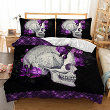 Wongsbedding Purple rose Skull Bedding Set 3D Duvet Cover Bedclothes Twin queen king size 3pcs dropship
