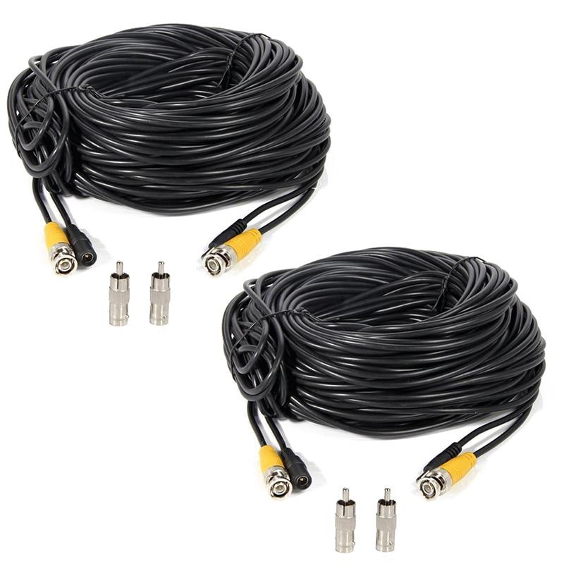 black 2 Pcs 150ft Video Power Extension Cable Wire for font b CCTV b font DVR